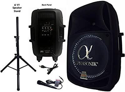 """Alphasonik 15"""" Powered 2800W PRO DJ Amplified Loud Speaker Bluetooth USB SD Card AUX MP3 FM Radio PA System LED Ring Karaoke Feature Mic (Main Monitor, Band, Church, Party, Guitar Amp) w/ Tripod Stand from Alphasonik"""