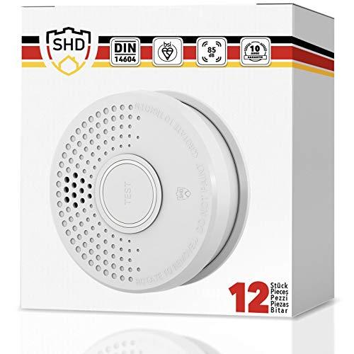 Rauchmelder 12er Set mit 10 Jahre Garantie inkl. 12x 9V Batterie geprüft nach DIN EN14604 und BSI Zertifiziert - 12 Stück Rauchwarnmelder Feuermelder Brandmelder Feueralarm …