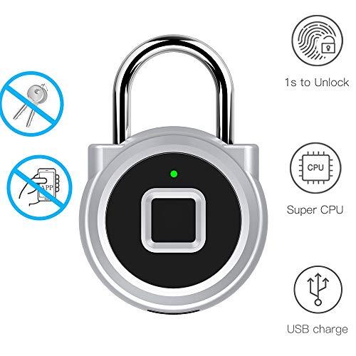 Fingerprint Padlock Portable Mini Keyless Lock High Security Anti-Theft IP65Waterproof USB Charging Lock for Door,School,Gym Locker, Storage Units, Suitcase, Bag, Bike (Silver)