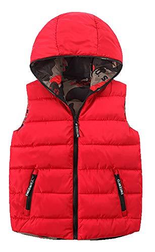CYSTYLE Kinder Jungen Mädchen Daunenweste ultraleichte Winterjacke Weste Ärmellos mit Doppelseitige Wear (Rot, 170/Körpergröße 148-155cm)