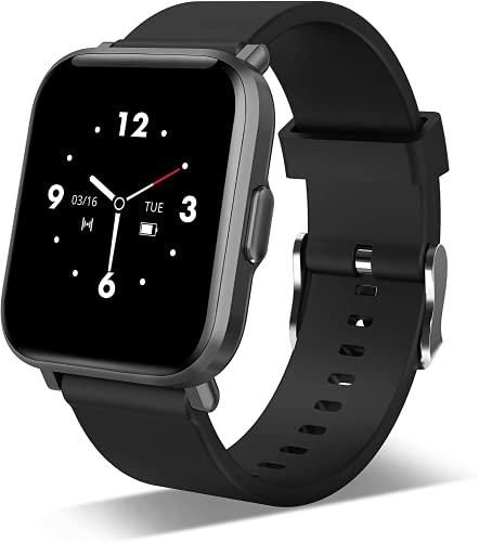 Smartwatch Herren Damen, 5ATM Fitness Tracker mit Blutsauerstoff/Blutdruck/Pulsuhr/Stress/Schlafmonitor Schrittzähler 18 Sportmodi Benachrichtigungen Musiksteuerung Fitness Sportuhr für Android iOS