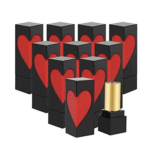 Qiterr DIY Lippenstift-Form, Liebes-Herz-Leere Behälter-selbst gemachtes Lippenbalsam-Rohr(10Pcs)