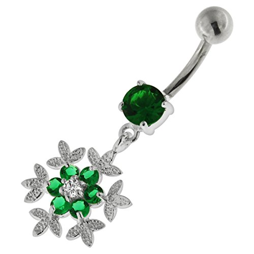 Dark Green Crystal Stone Snowflake Flower Dangling 925 Sterling Silver with Stainless Steel Belly Button Ring