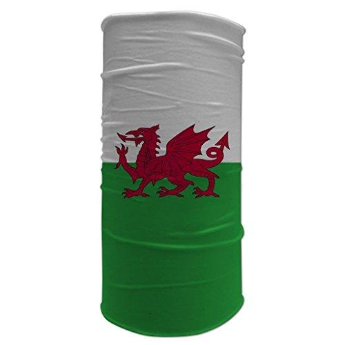 Schlauchtuch mit walisischer Flagge von Wales, Cymru-Y Ddraig Goch Roter Drache Halswärmer Sport Schlauchschal Biker Kopfbedeckung, Sturmhaube, DP052-WHITE, Weiß, DP052-WHITE