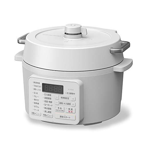 アイリスオーヤマ 電気圧力鍋 2.2L 2WAYタイプ グリル鍋 6種類自動メニュー 65メニュー掲載レシピブック付...