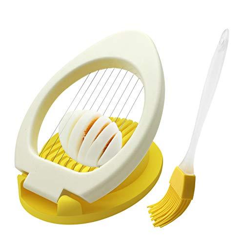 Eierschneider Spülmaschinenfest für Hartgekochte Eier Ultrafeines 304-Draht-Eierschneidewerkzeug mit Ölbürste für Weiches Obst und Gemüse