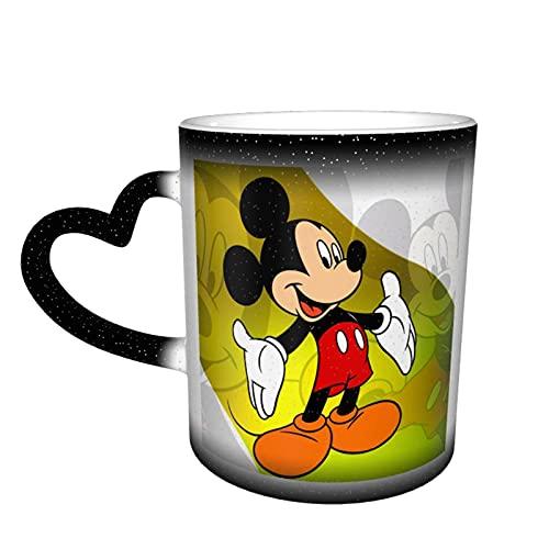 Taza de café con diseño de Mickey Mouse de cerámica para té, cambiante de color, para familiares, amigos, oficina, regalo de cumpleaños