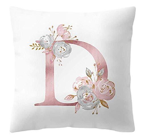 Funda de cojín - 45 x 45 cm - Letra D - Inicial - Nombre - Alfabeto - Cojín decorativo - Sofá - Cama - Casa - Dormitorio - Rosa - Flores - Color blanco y rosa