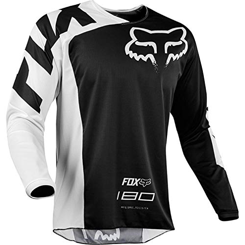 Men Cycling Jersey, Long Sleeve Biking Cycle Tops Quick Dry Breathable Mountain Bike MTB Shirt Racing Bicycle Clothes (White,M)