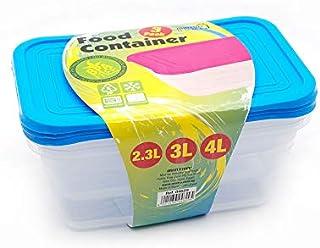 طقم علب بلاستيك بالغطاء لتخزين الطعام وتحضير الوجبات من مينترا، 3 قطع - ازرق
