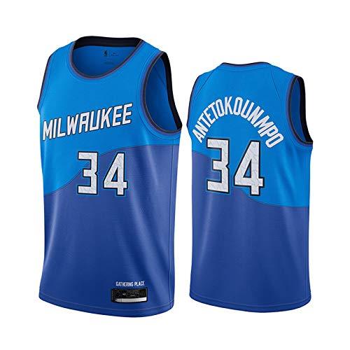 FRESHC Hombres # 34 Antetokounmpo Basketball Swingman Jersey Milwaukee Fans Bordado Camisa de Baloncesto, Sky Blue S-XXL S
