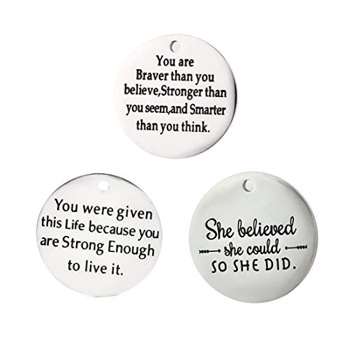 Stainless Steel Inspirational Message Charm Pendants Craft Supplies Jewelry Findings Making Accessory for DIY Necklace Bracelet Pendants Beads Charms Pendants for Crafting #7