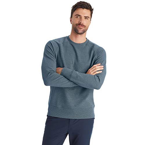 C9 Champion Men's Waffle Thermal Knit Crew Pullover, Jetson Blue Heather, L