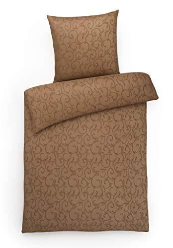 Carpe Sonno Luxus Damast Bettwäsche 200x200 cm Ornament Muster Braun mit Stil aus 100% gekämmter Baumwolle – Luxuriöse braune Doppel-Bettbezüge mit 2 Kopfkissen und modernem Ranken Design