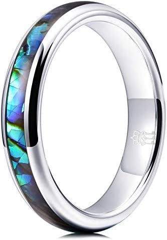 THREE KEYS JEWELRY 4mm Womens Rings Unique Tungsten Carbide for Man Abalone Shell Inlay Ring product image