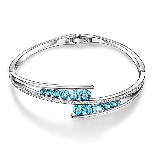Menton Ezil 'Love Encounter Sapphire Blue Swarovski Bracelets Woman Bangle 7' Charm Tennis Jewelry