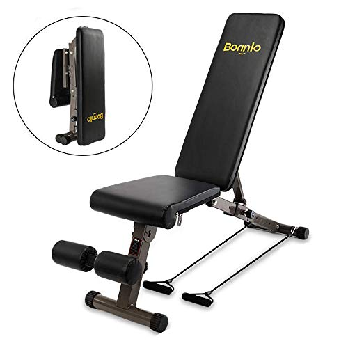 Bonnlo Upgraded Adjustable Bench, Folding Weight Bench Press for Body Workout Fitness, 660 LBS...