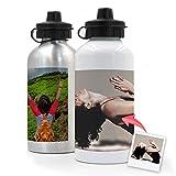 Getsingular Botellas de Aluminio 500 ml Personalizadas con Tus Fotos y Texto   Botella de Viaje lijera con Fotos   Color Plateado