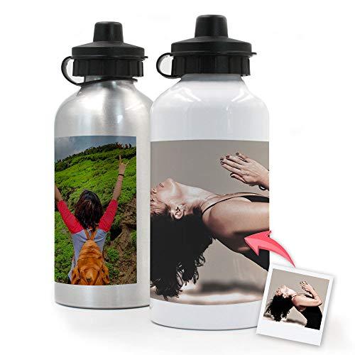 Getsingular Botellas de Aluminio 500 ml Personalizadas con Tus Fotos y Texto | Botella de Viaje lijera con Fotos | Color Plateado