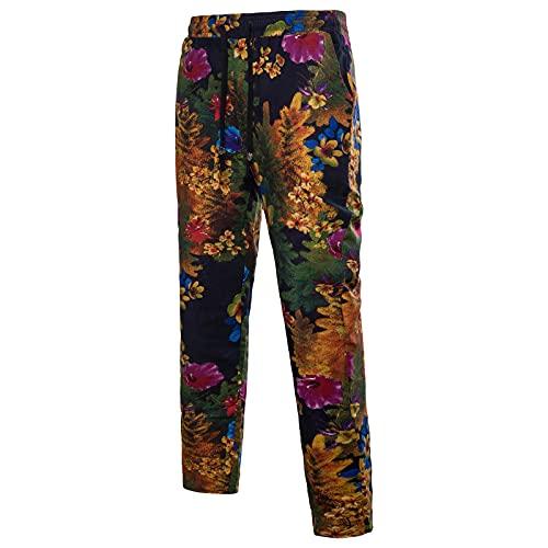 Briskorry Pantalones de lino para hombre con estampado étnico, pantalones largos, informales, con bolsillos laterales, de algodón, cintura elástica suelta, con cordón, Negro6, XXL
