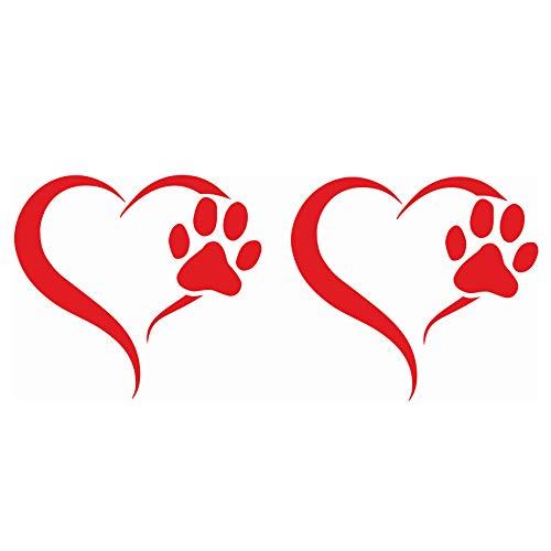 Finest Folia Set van 2 stickers poten en hart 10x11 cm hond kat sticker voor auto motorfiets muur laptop meubilair poten stickers hondenpoot zelfklevend K017 Hellrot