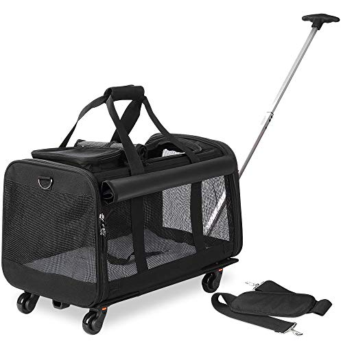 Kundu Pet Carrier with Detachable Wheels for Small & Medium Dogs & Cats - Black