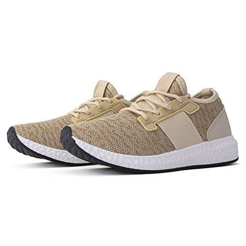 RF ROOM OF FASHION Women's Lightweight Running Tennis Shoes Athletic Sneakers Taupe Size.9