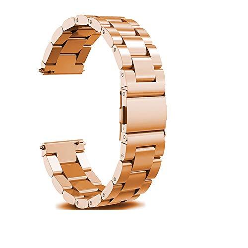 Correa de banda de reloj de acero inoxidable de 18 mm 20 mm 22 mm para Samsung Gear S2 S3 Smart Watch Pulsera para Samsung Gear S2 1033 (Band Color : Rose Gold, Band Width : 18mm)