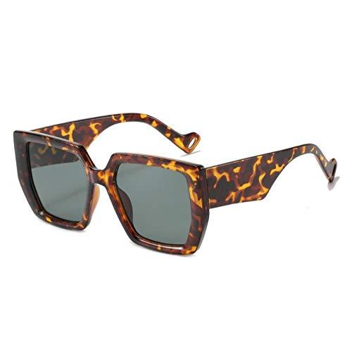 ZZOW Gafas De Sol De Gran Tamaño para Mujer, Cuadradas, De Diseñador De Marca Vintage, para Hombre, Gafas De Sol De Tendencia, Tonos Verdes Y Beige Uv400