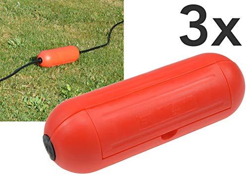 Outdoor Sicherheitsbox IP44 Schutzbox 3x Rot Safe-Box für Kabelverbindung Spritzwasserschutz Schutzkaspel für Verlängerungskabel und Stromstecker im Aussenbereich