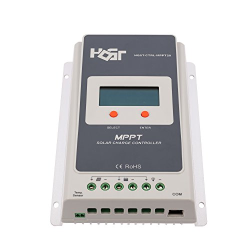HQST 20A Positive Ground MPPT 12V/24V Battery Solar Charge Controller Multiple Load Control Modes with LCD Display