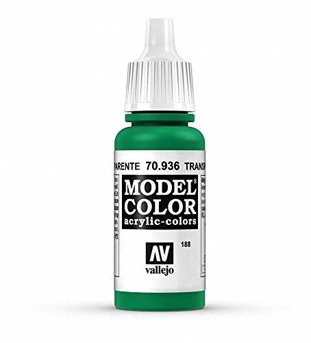 Vallejo Model Color - Vernice Acrilica, Tubetto da 17ml, Verde Trasparente (Trans Green)