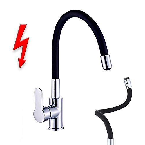 Niederdruck Spültischarmatur FLAMINGO Küchenarmatur Einhandmischer Wasserhahn Armatur Küche flexibler Auslauf chrom-schwarz
