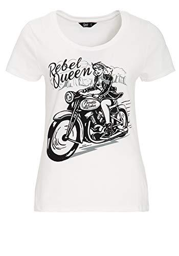 Queen Kerosin Rebel Queen Camiseta, Offwhite, XS para Mujer
