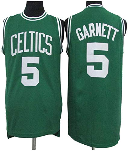 GLACX Men's NBA Boston Celtics 5# Garnett Baloncesto Jersey, Tela Transpirable Cómodo Luz Uniforme Uniforme, Gimnasio Retro Jersey Fitness Deportes Top,S