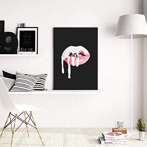 zeo Qi Lin Zou Leinwand-Malerei Sexy Lippenstift Poster Kylie Jenner Wandkunst Leinwand Malerei Drucke Wandbilder Lip Sense Poster Mädchen Zimmer Make-Up Wandkunst 60 cm x 90 cm Kein Rahmen