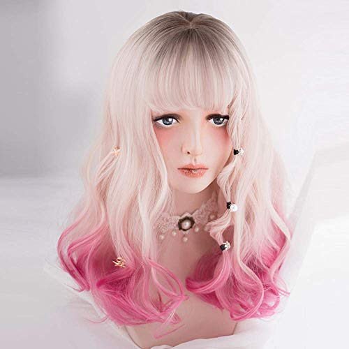 DIDADA wig Lolita 45cm Medium Black Mixed Pink Curly Anime Lady Sweet Bangs Synthetic Hair Cosplay 18inches Muli Color