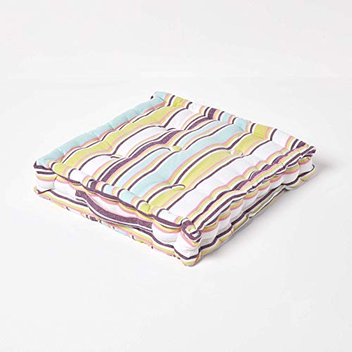 HOMESCAPES Osaka Multi Stripes Large Floor Cushion 100% Cotton 50 x 50 x 10 cm Square Indoor Garden Dining chair booster Seat Cushion Pad