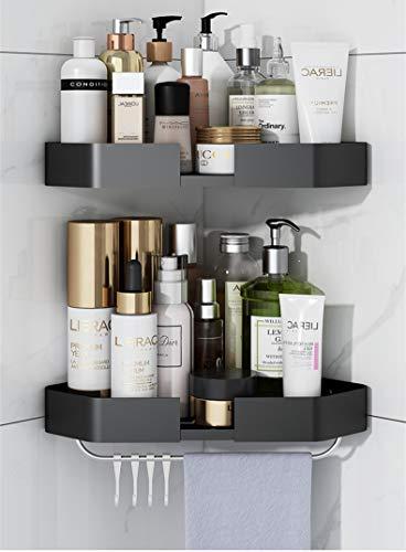 2 Pack Corner Shower Caddy Rust Proof Corner Shower Shelf Rack with Hooks Corner Storage Organizer Mounted for Bathroom Kitchen(Black)