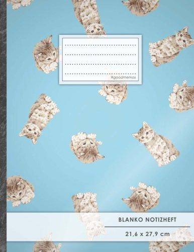 """Blanko Notizbuch • A4-Format, 100+ Seiten, Soft Cover, Register, """"Katzen"""" • Original #GoodMemos Blank Notebook • Perfekt als Zeichenbuch, Skizzenbuch, Sketchbook, Leeres Malbuch"""