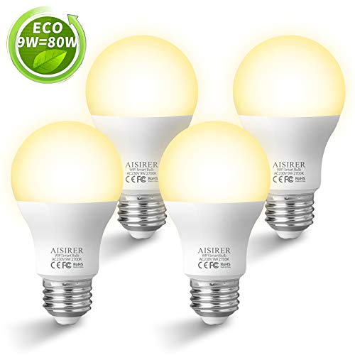 AISIRER Smart Lampe WLAN Glühbirnen Wifi LED Light Bulb E27 Birne 9W 806LM Kompatibel mit Amazon Alexa Echo Google Home Kein Hub Erforderlich Dimmbares Warmes Licht 2700K (4 Packung)