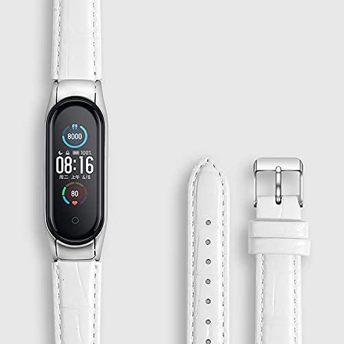 DKNS Adecuado para Xiaomi Band 5/6 Banda De Reloj De Pulsera, Cuero Mi Smart Sports Band 3/4 Banda De Reemplazo, Estilo De Negocios Chicos Y Niñas 0821B(Size:Mi Band 5/6,Color:Blanco)