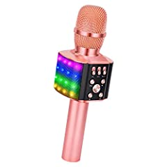 【 PARTICULAR DESIGN】 - The excellent design of our karaoke microphone is very suitable for your hand, which can make you feel more comfortable. And the built-in high-quality Bluetooth module can be used as speaker, player and Recorder, compatible wit...