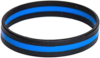 STRYKER Thin Blue Line Silicone Bracelet Police Support Law Enforcement Memorial Wristband