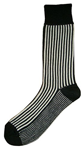 Bassin and Brown Mens Vertical Stripe Midcalf Socks - Black/White