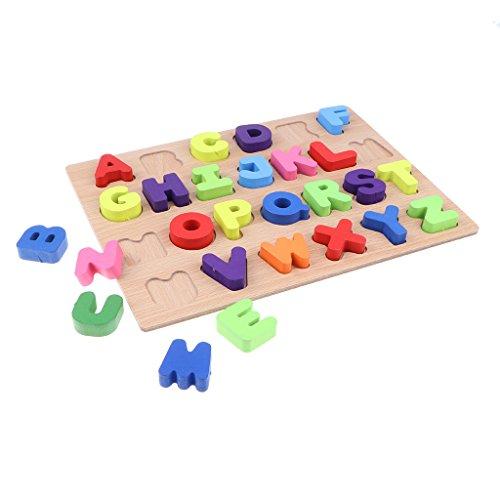 Generic Lettera Maiuscola in Legno Apprendimento Puzzle Alfabeto Blocchi Bordo Bambini Ortografia Giocattolo con 26 Alfabeto Lettura Ordinamento Corrispondent