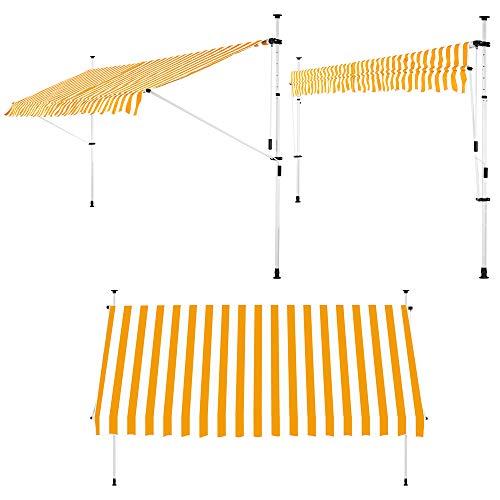 Detex Toldo retraíble Lona Amarillo y Blanco 400cm protección Solar para terraza balcón Altura Ajustable con manivela