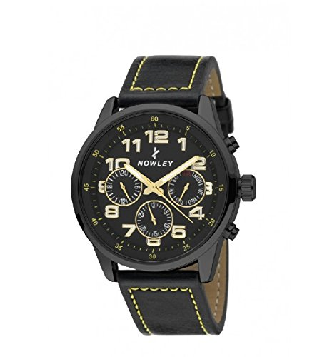 Reloj Hombre, analógico, Marca Nowley, Esfera y Caja Negra con números en blnaco y Cerco Color Dorado