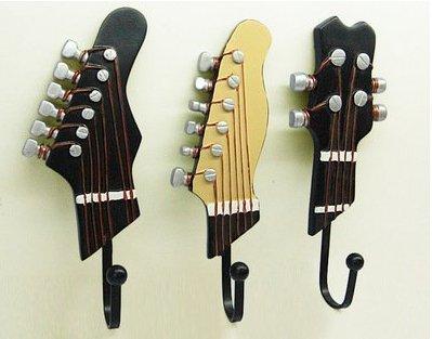 Oxforder 3Piezas Toalla de Gancho Perchero de Pared Colgador Guitarra Forma Vintage Resina Gancho Gancho Titular de la Clave con Tres Ganchos