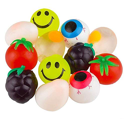 Kicko 25 Inch Sticky Splat Ball - 12 Pieces of Squishy Assortments - Novelty Toy Collection Stress-Reliever for Kids Game Prizes Party Supplies Loot Bags